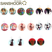 SANSHOOR Afrocentric Ethnic Wood Drop Earrings Collection 6cm Large Size... - $20.42