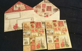 2-Punch Studio blank cards--scenes of France (postage stamps)-wow envelope - $5.36