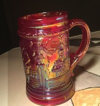 Vintage Cranberry Red Westmoreland Mug With Victorian Motif Of King And ... - $21.78
