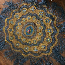 Gorgeous Antique Victorian Needlepoint Center Silk Knotted Net Tableclot... - $200.00