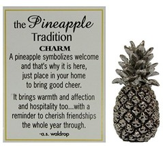 The Pineapple Tradition Zinc Pinaeapple Pocket Charm by Ganz w/ Story Card - $4.79