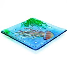 "Jaco Handcrafted Ocean Jellyfish Fused Glass 8.25"" Square Decorative Plate image 3"