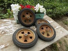 Greyhound Vintage Wagon Wheels Metal Spokes Buggy Spokes Red Pumpkin Goa... - $144.00