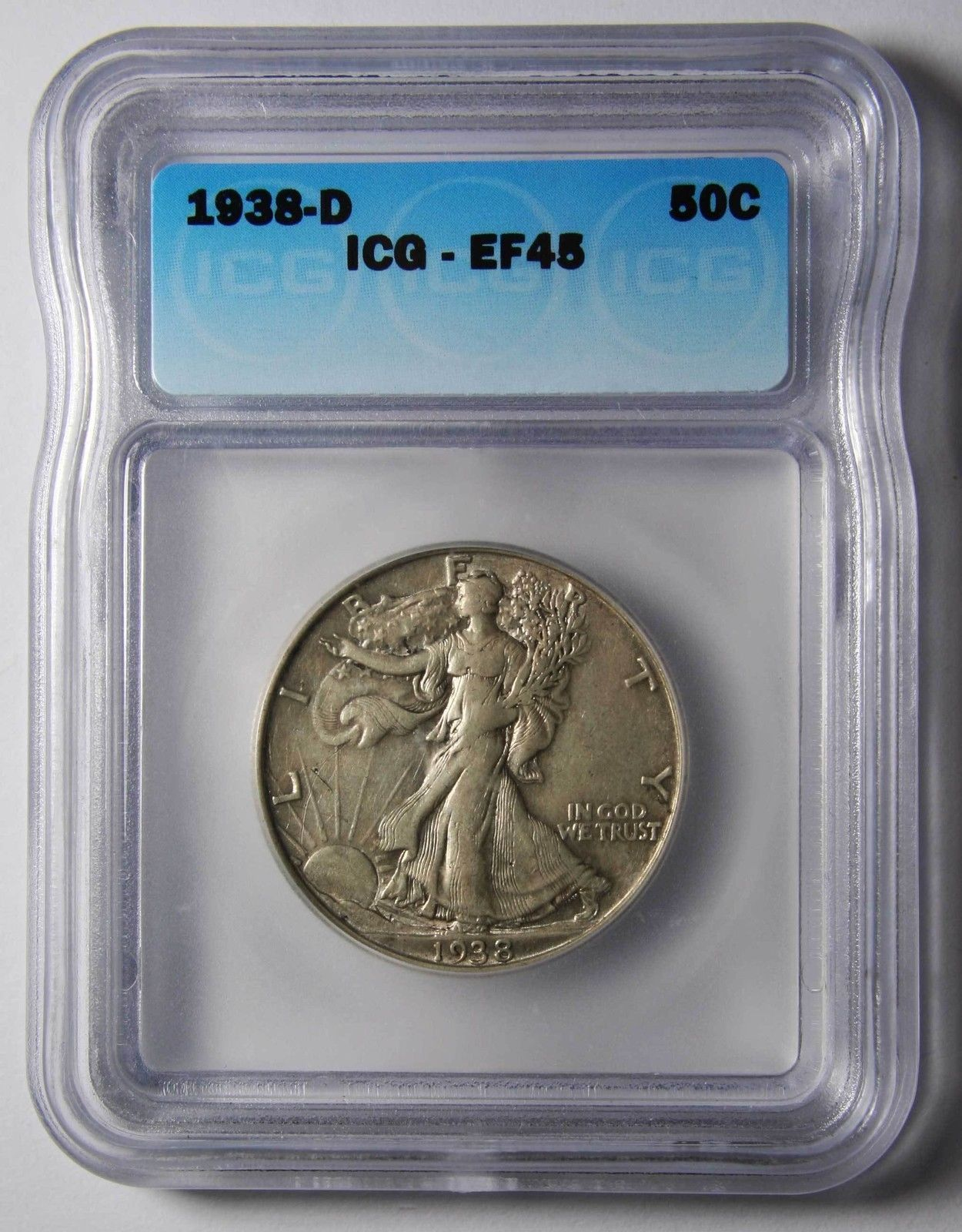 1938D Walking Liberty Half Dollar 90% Silver ICG EF45 XF45 Coin Lot# MZ 4433