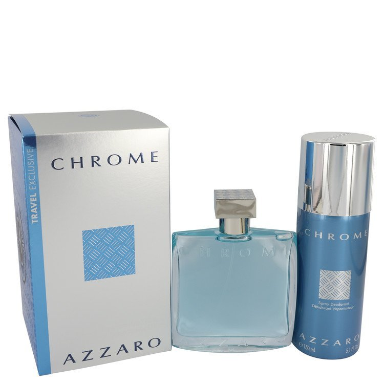 Azzaro Chrome Cologne 3.4 oz Eau De Toilette Spray 2 Pcs Gift Set