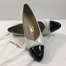Salvatore Ferragamo Women's Med Heel Stilletos (White, Black Tip, 8 1/2) - $77.22