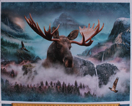 "34.5"" X 44"" Panel Moose Hawks Wildlife Nature Landscape Cotton Fabric D4... - $284,52 MXN"