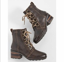 Sorel Cate Lace Up Bootie Brown Leather Waterproof Boot NL3385-282 Women... - $109.99