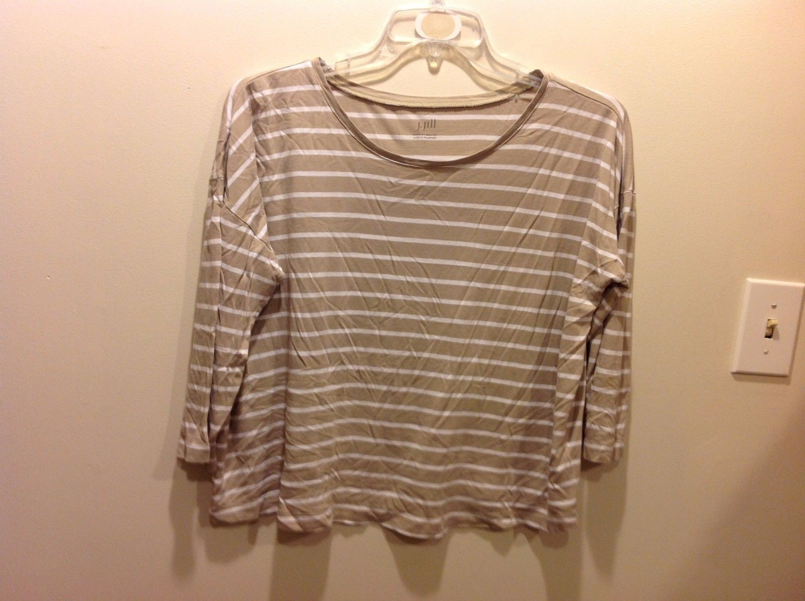 J Jill Taupe White Horizontally Striped Top Sz LG