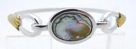 VTG AVON Dual Tone Abalone Mother of Pearl Bangle Bracelet - $14.85