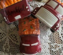Red Truck w/Pumpkin Lid ~ Ceramic Cookie Jar ~ Hand-painted ~ Country Fa... - $49.50