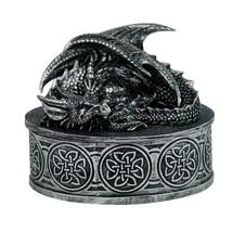 Medieval Fantasy Mythical Dragon Lidded Treasure Trinket Box - $16.82