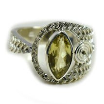 Natural Lemon Quartz Ring In Silver Statement Jewelry Sizes 4,5,6,7,8,9,... - $34.65