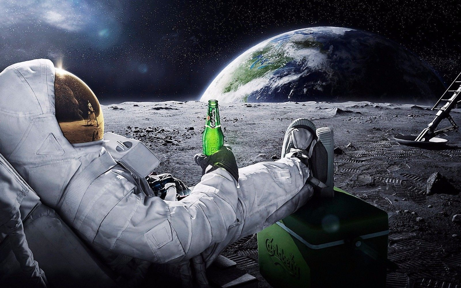 Astronaut on the moon with beer 24 X 36 inch Poster, wall decor, mars, nasa