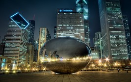 "Chicago Bean ""Sky Gate"" South Side at Night    2.5 x 3.5  Fridge MAGNET - $3.99"