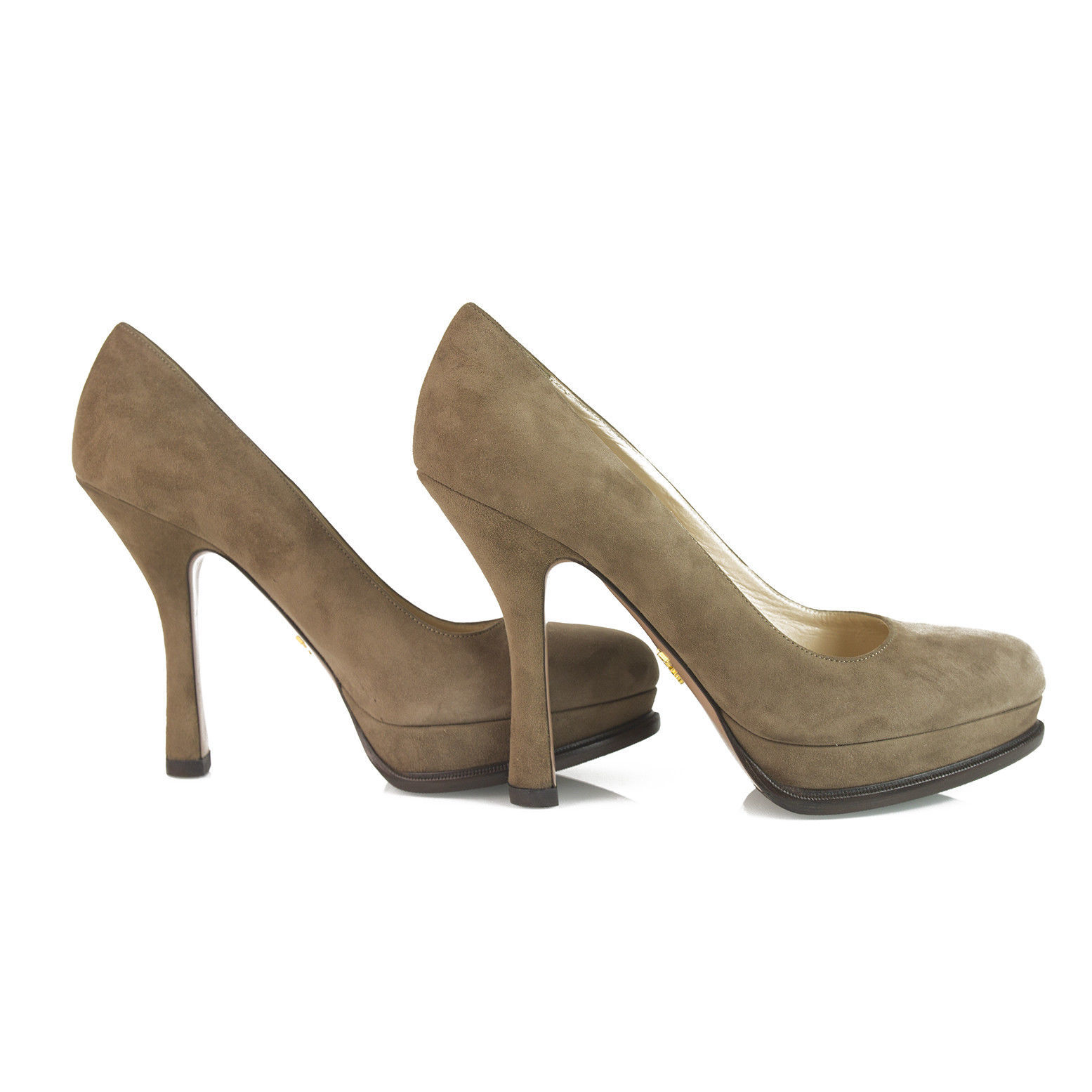 Prada Taupe Brown Suede Leather Classic Pumps Round Toe Slim Heel Platform sz 40 image 5