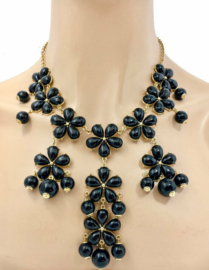 Black Flowers Bib Statement Necklace & Earrings Long or Short Wearable As Either - $15.68