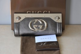 GUCCI METALLIC PEWTER SILVER LEATHER HANDBAG BAG PURSE EVENING CLUTCH NE... - $875.58