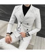 Men Striped Double Breasted 3 Piece Suits White Club Outfits Slim Fit - $162.00