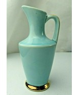 Vintage American US Pottery Blue & Gold 14k Pop Art Deco pitcher - $30.00