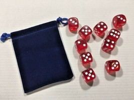 Ten Piece - Six Sided Dice Set & Bag - Blood Red Clear / White Die Pips ... - $6.60