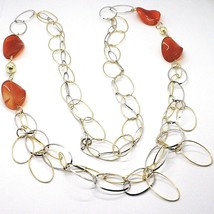 Silver 925 Necklace, Carnelian Oval Wavy, Double Chain, Long 110 CM image 2