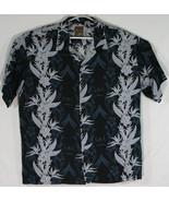 Pineapple Connection Mens Large Hawaiian Shirt Black & Grey Hibiscus (F2) - $32.73