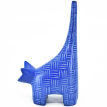 """Vaneal Group Hand Carved Kisii Soapstone Dark Blue Tail Up Cat 5"""" Figurine image 3"""