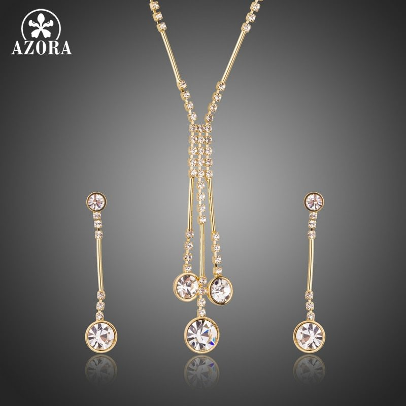 AZORA Gold Color Jewelry Set for Women Water Drop Necklace & Pendant Drop Earrin