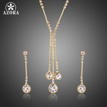 AZORA Gold Color Jewelry Set for Women Water Drop Necklace & Pendant Drop Earrin image 1