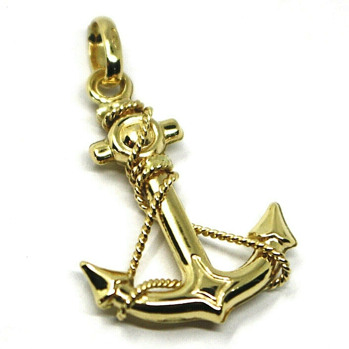 18K YELLOW GOLD NAUTICAL BIG ANCHOR ROUNDED PENDANT, LENGHT 3 CM, 1.2""
