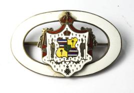 """Antique HC Culman Honolulu White Enamel Brooch Pin Great Shape Sterling 2"""" - $494.99"""