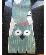 New OWL Fabric Shower Curtain Gray Blue Green White - $21.35