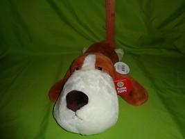 """Plush Large Puppy Dog White Brown Fur Stuffed Animal Toy Doll 15"""" Long - $9.40"""