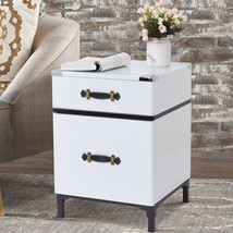 White Black Campaign End Table Trunk Style Table Nightstand w/ Storage D... - $108.40