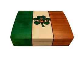 PolishArt Ireland Flag & Irish Claddagh Box Handmade Wooden Decorative Box Linde - $36.99