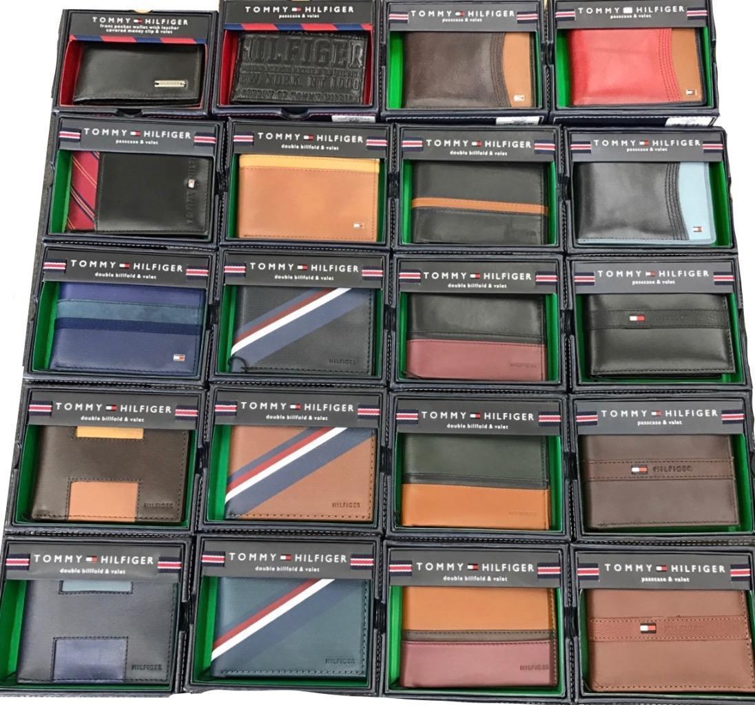 TOMMY HILFIGER MEN'S 50 PIECES LOT LEATHER CREDIT CARD WALLET ASSORTED WHOLESALE