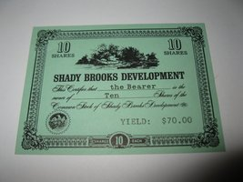 1964 Stocks & Bonds 3M Bookshelf Board Game Piece: Shady Brooks Dev. 10 Shares - $1.00