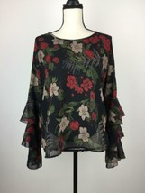 Given Kale Womens Blouse Top Large Black Ruffle Sleeve Floral Chiffon A2... - $14.43