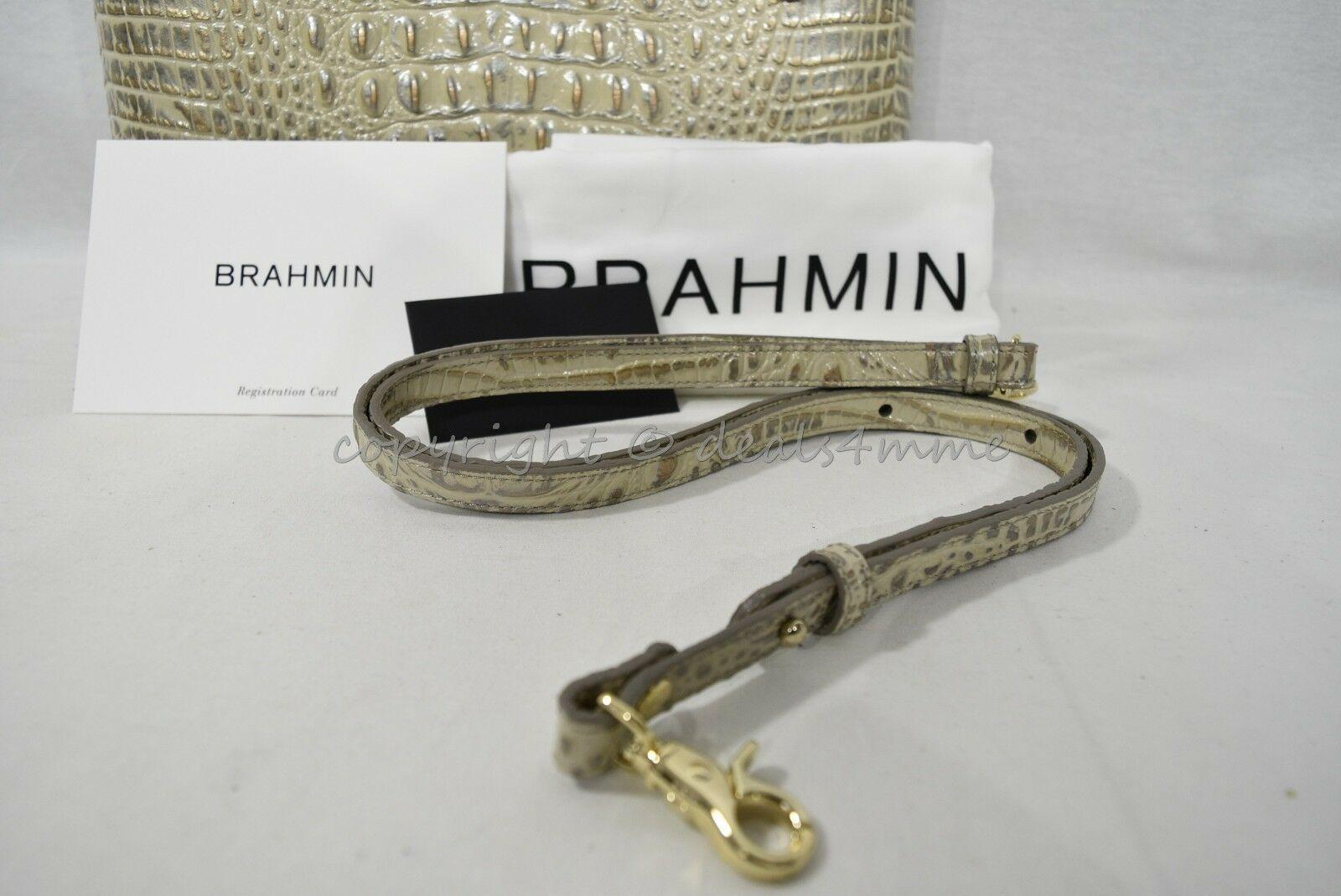 NWT Brahmin Large Leather Duxbury Satchel/Shoulder Bag in Silver Birch Melbourne image 11