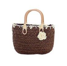 Sweet Brown Straw Handbag Flower Beach Bag