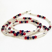 American Pride Eyeglass Chain, Red, White and Blue Eyeglass Holder - $22.88