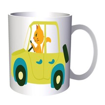 Cat driving car 11oz Mug v972 - $10.83