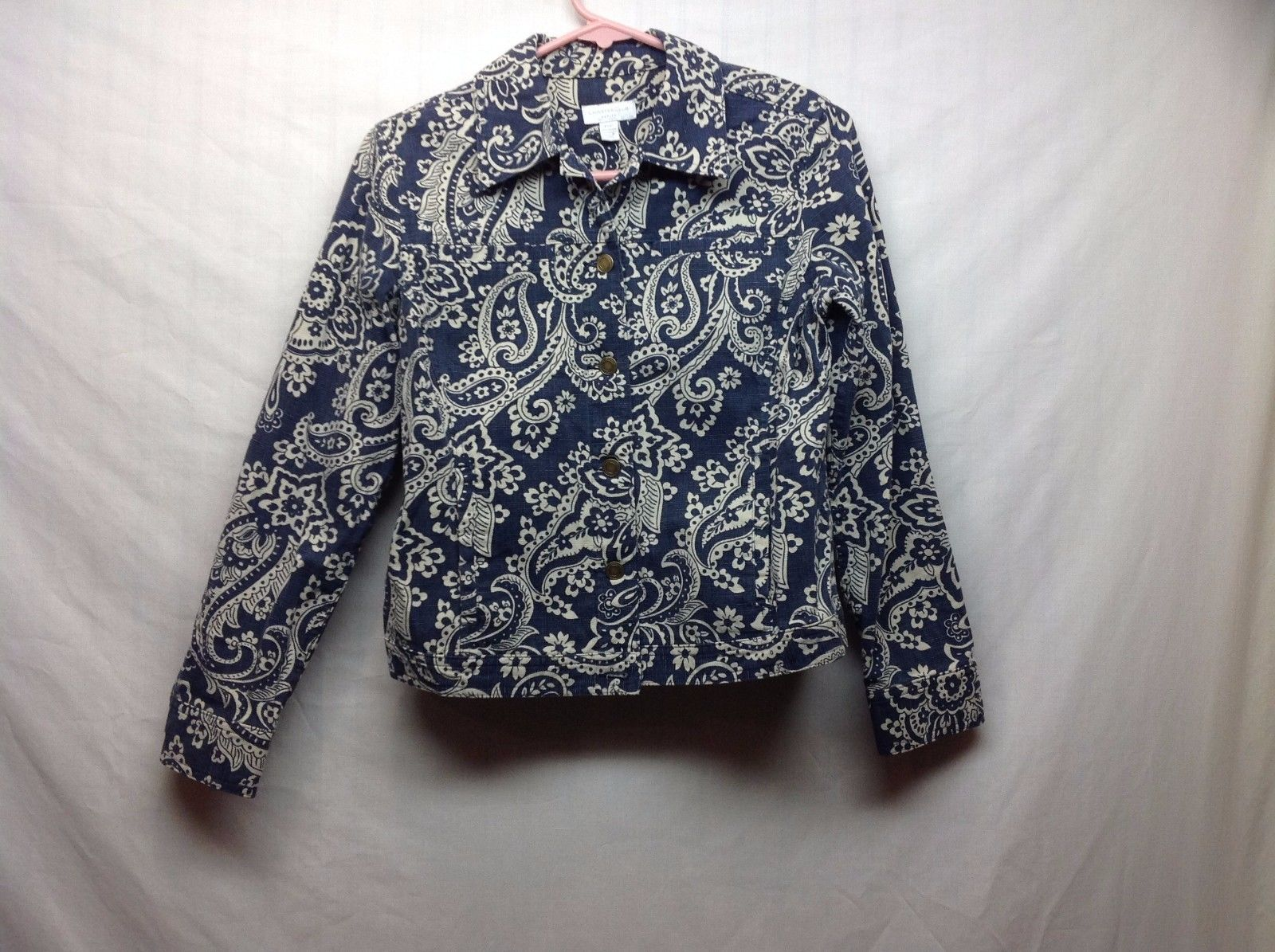 Ladies Paisley Denim Jacket Blazer by Charter Club Sz PP