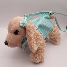 Poochie and Co. Blonde Cocker Spaniel Purse Blue Sequins Bows & Collar - $14.84
