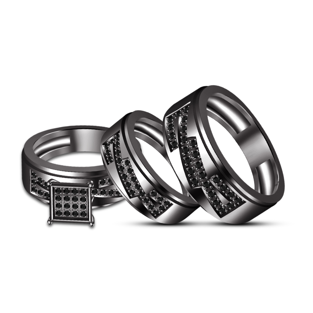 Primary image for Full Black Rhodium Fn His & Her Special Trio Ring Set Free shipping & Free Gift
