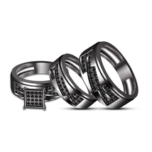 Full Black Rhodium Fn His & Her Special Trio Ring Set Free shipping & Free Gift - $150.67