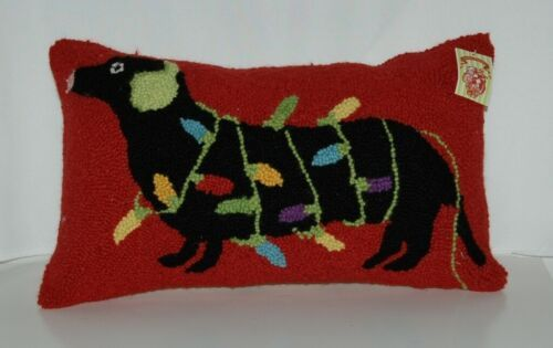 Peking Handicraft Christmas Tradition Black Dachshund String Lights Wool Pillow