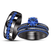 Mens Womens Wedding Anniversary Sapphire Trio Ring Set Black Gold Fn 925 Silver - £126.69 GBP