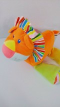 First Impressions plush baby toy orange lion striped mane feet blue green yellow - $4.94